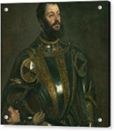 Portrait Of Alfonso D'avalos Marquis Of Vasto In Armor With A Page Acrylic Print