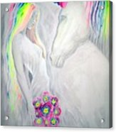 Princess And Unicorn Acrylic Print