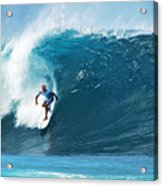 Pro Surfer Kelly Slater Surfing In The Pipeline Masters Contest Acrylic Print