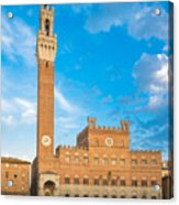 Public Palace With The Torre Del Mangia In Siena, Tuscany Acrylic Print