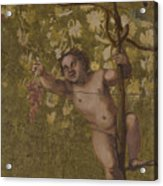 Putto Gathering Grapes Acrylic Print
