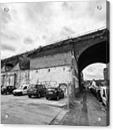 railway viaduct in oxford street former industrial area of digbeth now a conservation area Birmingha Acrylic Print