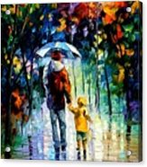 Rainy Walk With Daddy Acrylic Print