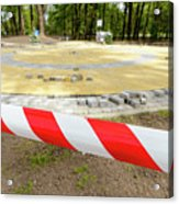 Red And White Barricade Tape Acrylic Print