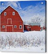 Red Barn, Winter, Grande Pointe Acrylic Print