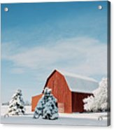 Red Barn With Snow Acrylic Print