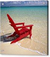Red Beach Chair Acrylic Print