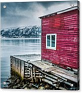 Red Boathouse In Norris Point, Newfoundland Acrylic Print