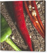 Red Hot Peppers On Wooden  Cutting Board Acrylic Print