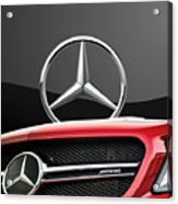 Red Mercedes - Front Grill Ornament And 3 D Badge On Black Acrylic Print by Serge Averbukh
