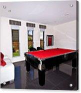 Red Pool Table Acrylic Print