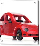 Red Retro Wooden Toy Car Isolated On White Background Acrylic Print