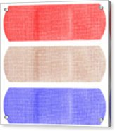 Red White And Blue Bandaids Acrylic Print by Blink Images