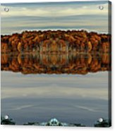 Mirrored Panoramic, Reflecting Fall  From The Banks Of  Bishop Pond Acrylic Print