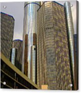 Renaissance Center In Detroit Acrylic Print by Guy Ricketts