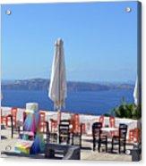 Restaurant By The Aegean Sea  In Santorini, Greece  Acrylic Print