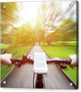 Riding A Bike First Person Perspective. Smartphone On Handlebar. Speed Motion Blur Acrylic Print