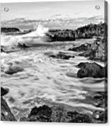 Rocky Asilomar Beach In Monterey Bay At Sunset. Acrylic Print