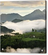 Rolling Fog At Sunrise In The Skofjelosko Hills With St Thomas C Acrylic Print