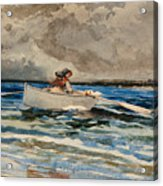 Rowing At Prouts Neck Acrylic Print by Winslow Homer