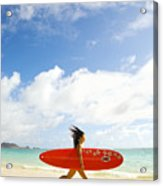 Running With Surfboard Acrylic Print