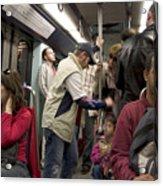 Rush Hour On Paris Metro Acrylic Print