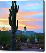 Saguaro Cactus And Church Acrylic Print