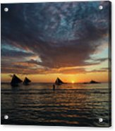 Sailing Boats At Sunset Boracay Tropical Island Philippines Acrylic Print