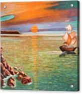 Sailing Ship And Castle Acrylic Print