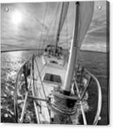 Sailing Yacht Fate Beneteau 49 Black And White Acrylic Print