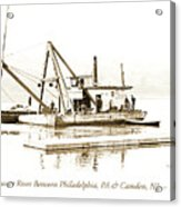 Salvage Barge, Delaware River, Philadelphia, C.1900 Acrylic Print
