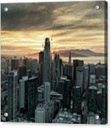 San Francisco City Skyline At Sunset Aerial Acrylic Print