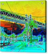 San Francisco Embarcadero And The Bay Bridge Acrylic Print by Wingsdomain Art and Photography