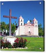 Santa Barbara Mission And Cross Acrylic Print