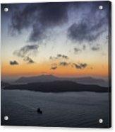 Santorini Caldera Sunset Acrylic Print