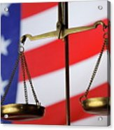 Scales Of Justice And American Flag Acrylic Print by Sami Sarkis