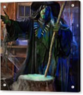 Scary Old Witch With A Cauldron Acrylic Print