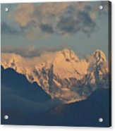 Scenic View Of The Dolomites Mountains With A Cloudy Sky  Acrylic Print