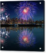 Seattle Skyline And Fireworks Acrylic Print