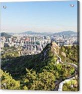 Seoul City Wall From Inwangsan Mountain In South Korea Capital C Acrylic Print