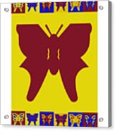 Serendipity Butterflies Brickgoldblue 5 Acrylic Print