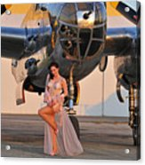Sexy 1940s Pin-up Girl In Lingerie Acrylic Print