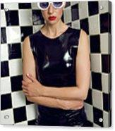 Sexy Woman In Latex Bath Acrylic Print