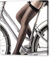 Sexy Woman Riding A Bike Acrylic Print by Oleksiy Maksymenko