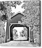 Shimanek Covered Bridge -surreal Bw Acrylic Print