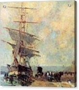 Ship In Harbour Rouen Albert-charles Lebourg Acrylic Print