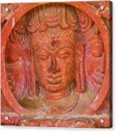 Shiva's Face On A Pillar At Chand Baori Acrylic Print