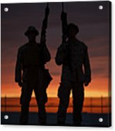 Silhouette Of U.s Marines On A Bunker Acrylic Print