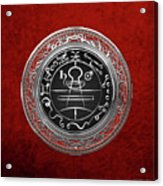 Silver Seal Of Solomon - Lesser Key Of Solomon On Red Velvet  Acrylic Print