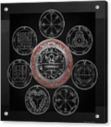 Silver Seal Of Solomon Over Seven Pentacles Of Saturn On Black Canvas  Acrylic Print